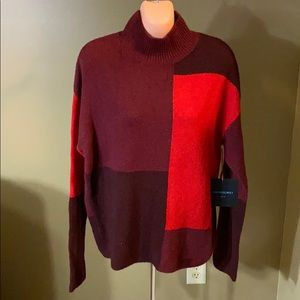 Cynthia Rowley Color Block Mock Neck Sweater